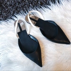 ZARA | Pointy Toe Slingback Flats Shoes Pointed